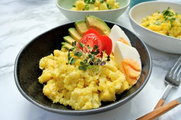 Raňajková slaná kaša z karfiolu